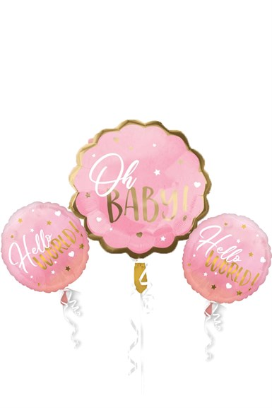 Baby Shower Pembe Folyo Balon Set 3 lü