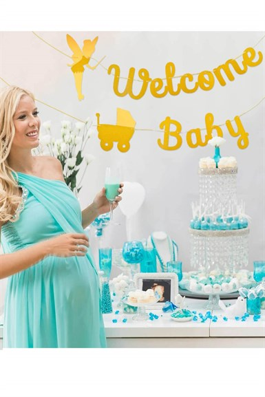 Baby Shower Peri Temalı  Welcome Baby Banner