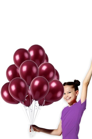Bordo Renk Metalik Balon