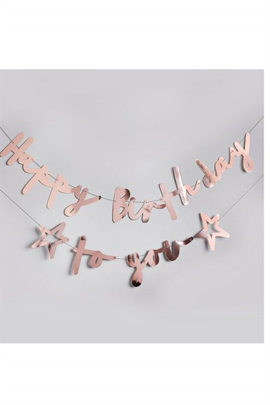 Happy Birthday To You Yazı Süs Rose Gold