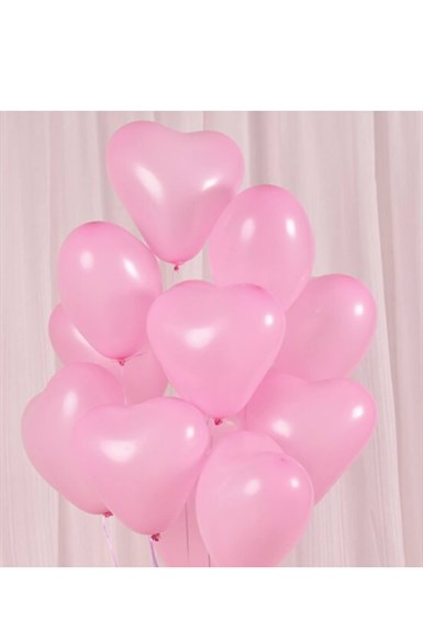 Kalp Pembe Latex Balon 5 li