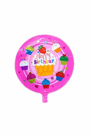 Pasta Temalı Pembe Happy Birthday Folyo Balon
